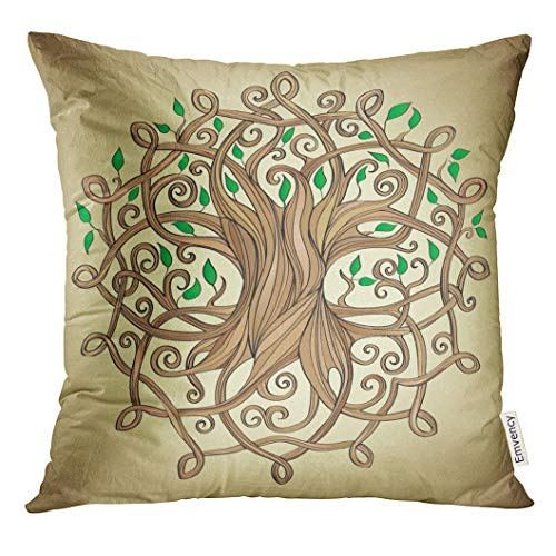 Emvency Throw Pillow Cover Knot Amazing Tree of Life in The Celtic Pattern with Leaves Roots Decorative Pillow Case Home Decor Square 18x18 Inches Pillowcase