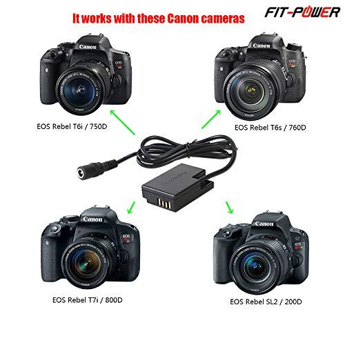 FIT-POWER ACK-E18 DR-E18 AC Power Supply Adapter Charger DC Coupler Kit (Replace LP-E17 Battery) For Canon EOS Rebel T6i T6s T7i SL2 SL3 750D 760D ...