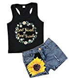 LOTUCY Toddler Girls Sunflower Letters T-Shirt Tops+Hole Denim Shorts Pants 2Pcs Outfits Size 5-6Years/Tag 130 (Black)