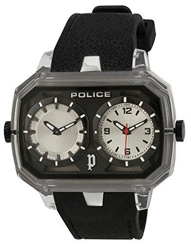 Police Men's PL-13076JPCL/04 Hydra Black Dual-Time Transparent Bezel Rubber Watch