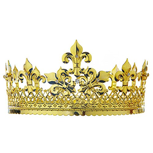 Men's Pageant Homecoming King Full Circle Round Gold Crown - Crown Metal Mens