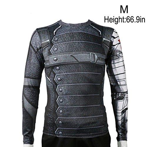 [Rulercosplay Civil War Winter Soldier Shirt Long Sleeves Sport Shirt (M)] (The Winter Soldier Costume)