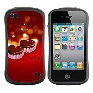 "Hypernova Slim Fit Dual Barniz Protector Caso Case Funda Para Apple iPhone 4 / iPhone 4S [CON AMOR""]"