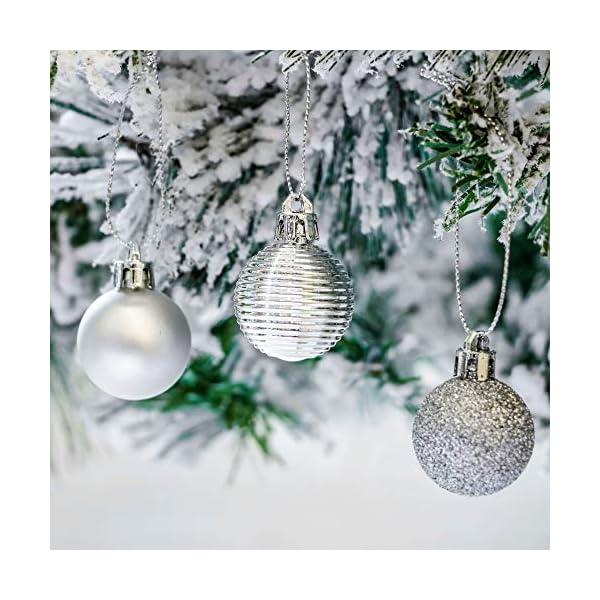 Victor's Workshop 54 Pezzi 3cm Palline di Natale, congelati Inverno Argento e Bianco Infrangibile Palla di Natale Ornamenti Decorazione per la Decorazione Dell'Albero di Natale 6 spesavip