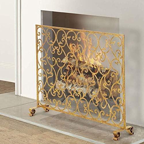 J-暖炉スクリーン シングル38×パネル錬鉄の暖炉スクリーン装飾メッシュ、スパークガードカバー無料立ちゲート耐火フェンス、ゴールド31in スパークガードカバー