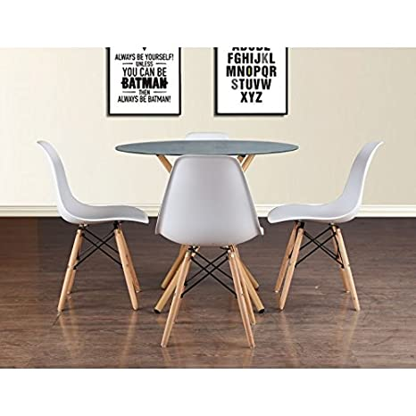HomeTown Corona Metal And Glass Four Seater Dining Set in White Colour