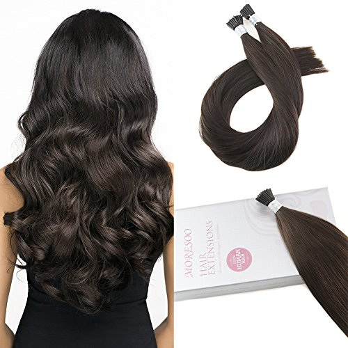 - Moresoo 20 inch 50strands/50g Darkest Brown Color #2 100% Remy Human Hair Extensions Pre Bonded Stick I Tip Hair Extensions Natural Human Hair