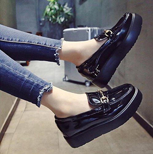 KPHY único salvaje Zapatos versión zapatos de autumn pequeño mujeres estudiante la Piel Zapatos pintura grosor nueva coreana esponja Thirty Zapatos Mujer six four Thirty de piel Cake de YAwxYUOrq