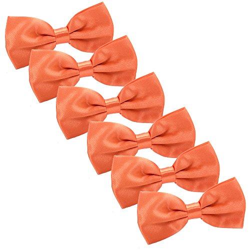 Orange Bowties (Men's Bow Tie for Wedding Party - 6 Pack of Solid Color Adjustable Pre Tied Bowties(Orange))
