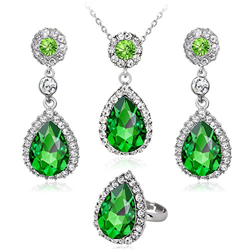 Emerald Glass Brooch - Gbell Fine Women Diamond Necklace Earring Ring Set - Metal Crystal Jewelry Bib Pendant Chain Necklace Set Ladies Party Ball Date Anniversary Engagement Wedding Gift Wearing