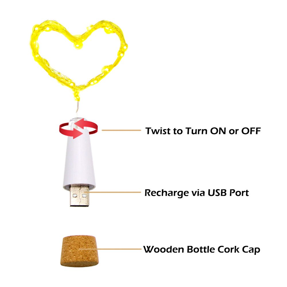 iMazer Wine Bottle Cork Lights, Rechargeable USB Powered Copper Wire String Starry LED Light DIY,Party,Home Decor,Christmas,Wedding Mood Lights Wine Bottle Decorations (Warm White 4 Pack)