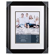 Gallery Solutions 68BM45 Satin Black Wall Frame with Mat, 14 by 18-Inch Matted to 10 by 13-Inch