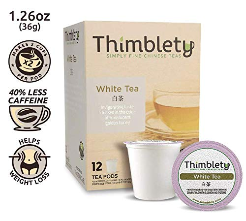 Thimblety Chinese Silver Needle White Tea (12 Pack) Keurig Compatible K-Cup - White Tea K Cups - White Tea K Cups for Keurig - White Tea K Cup - White Needle Tea - Chinese White Tea - White Teas