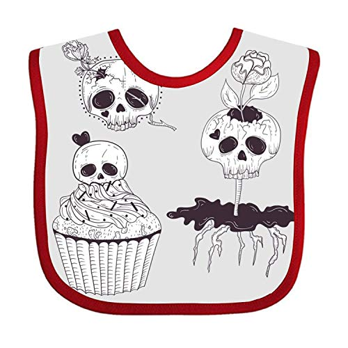 Lakssn Soft,Absorbent,Cotton Polyester,Three Skull Feeding Bibs Adjustable Teething Bib Waterproof Bib for Baby Toddlers