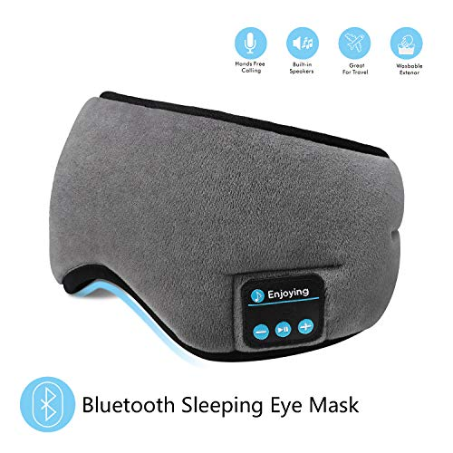 Bluetooth Sleeping Eye Mask Headphones,SKYEOL 4.2 Wireless Bluetooth Headphones Adjustable&Washable Music Travel Sleeping Headset with Built-in Speakers Microphone Hands-Free for Sleeping (Grey)