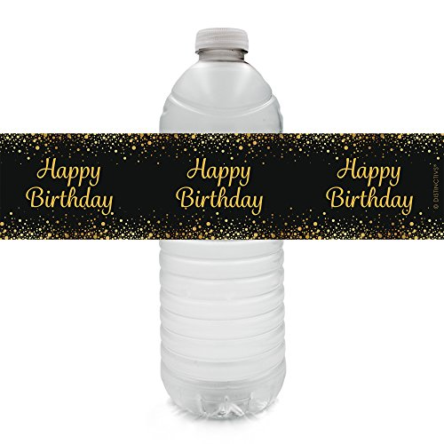 Happy Birthday Party Water Bottle Sticker Labels - Gold and Black (Set of 20)