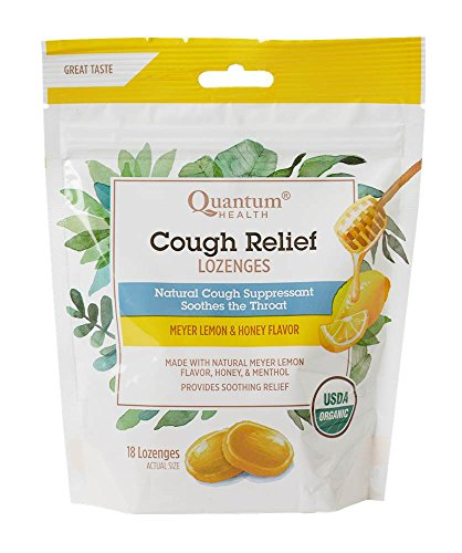 Throat Sore Lemon Natural (Quantum Health Organic Cough Relief Lozenges, Meyer Lemon & Honey, Natural Menthol Cough Suppressant, Bagged, 18 Ct.)