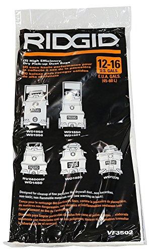 Ridgid VF3502 High Efficiency, Dry Pickup Dust Bags for 12 - 16 Gallon Ridgid Wet / Dry Vacuums (3 X 2 Pack)