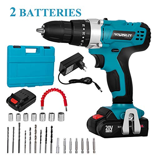 WARSLEY 20V 1.5Ah Lithium Ion Power Drill/Driver Kit - Compact Drill Kit with LED, 3 functions, 2 speeds, 2 batteries, 1 hour fast charger, 18 torque settings, 21 accessories/drive drills include