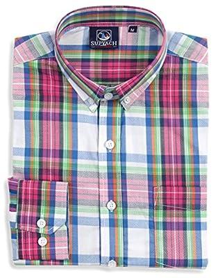 SUPYACH Men's 100% Cotton Long Sleeve Plaid Button Down Shirts