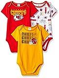 Gerber Childrenswear NFL Kansas City Chiefs Boys Short Sleeve Bodysuit (3 Pack), 0-3 Months, Red