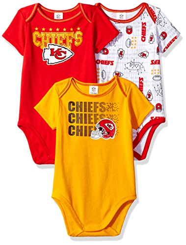 Chief Suit (NFL Kansas City Chiefs Boys Short Sleeve Bodysuit (3 Pack), 6-12 Months, Red)