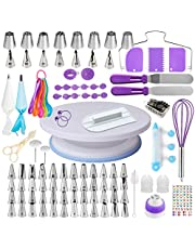 Cake Decorating Supplies Kit for Beginners, Set of 137, Baking Pastry Tools, 1 Turntable stand-55 Numbered Icing Tips with Pattern Chart, Angled Spatula, 8 Russian Piping nozzles-Baking Tools