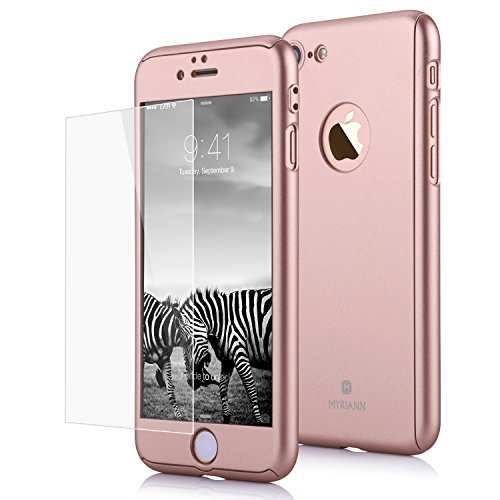 MYRIANN 111 iPhone 7 Case, Ultra Thin Full Body Coverage Protection Hard Slim Case with Tempered Glass Screen Protector - Rose Gold