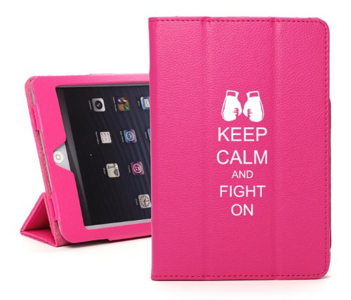 For Apple iPad Air 2 Hot Pink Faux Leather Magnetic Smart Case Cover Keep Calm and Fight On Boxing Gloves