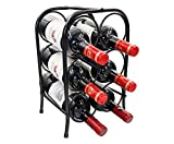 PAG 6 Bottles Free Standing Metal Wine Racks Small Wine Holders Stands for Countertop/Tabletop, Black