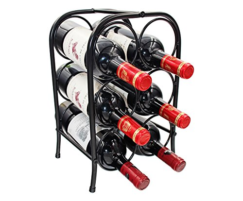 PAG 6 Bottles Free Standing Countertop Metal Wine Rack Tabletop Wine Storage Holders Stands, Black