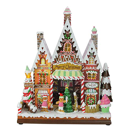 Roman Amusements LED Musical Village Scene - House Bird Gingerbread Cottage