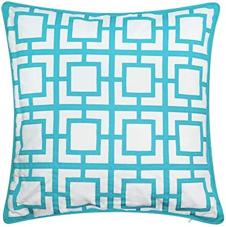 Edie At Home Modern Links Geometric Applique Indoor Outdoor Decorative Pillow