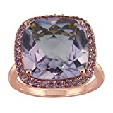 14mm 9ct Cushion Pink Amethyst Ring in Rose Gold Plated Sterling Silver with Created Pink Sapphire Halo