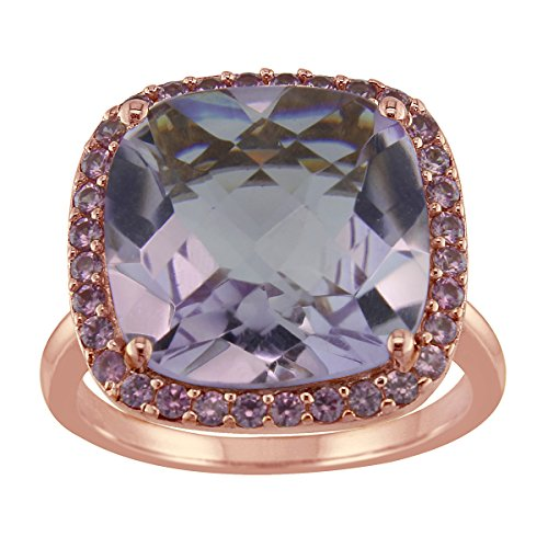 Bright Blue Dot 14mm 9ct Cushion Pink Amethyst Ring in Rose Gold Plated Sterling Silver with Created Pink Sapphire Halo