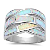 Lab Created White Fire Opal Band .925 Sterling Silver Ring Sizes 9