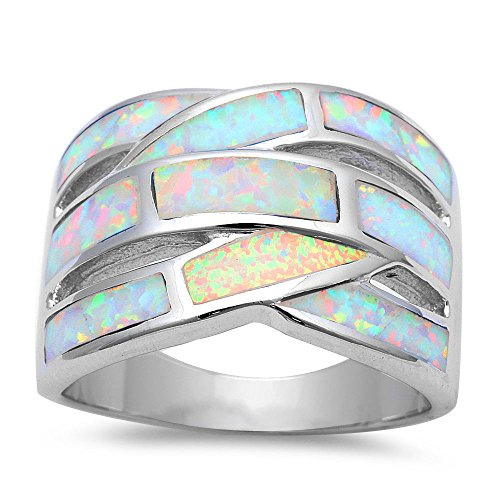 Opal White Ring - Lab Created White Fire Opal Band .925 Sterling Silver Ring Sizes 7