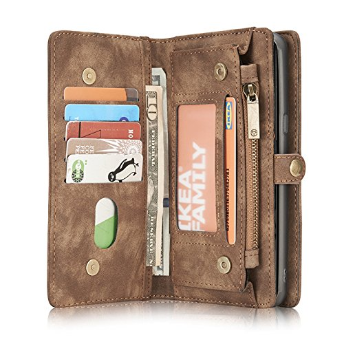 Galaxy Note 9 Case,Miya Premium PU Leather Wallet Case with ID Card Holder Flip Cover Case [Magnetic Closure] Detachable Zipper Pouch Case for Samsung Galaxy Note 9 (2018 Release) - Light Brown by MIYA LTD (Image #2)