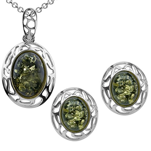 Green Amber Sterling Silver Oval Stud Earrings Pendant Necklace Set Chain 18