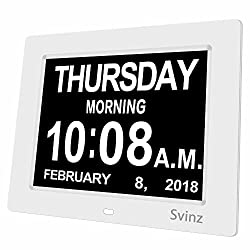 SVINZ 8 Digital Calendar Alarm Day Clock with 3 Alarm Options, Extra Large Non-Abbreviated Day & Month SDC008-2 Color Display Settings