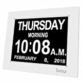 """SVINZ 8"""" Digital Calendar Alarm Day Clock with 3 Alarm Options, Extra Large Non-Abbreviated Day & Month SDC008-2 Color Display Settings"""
