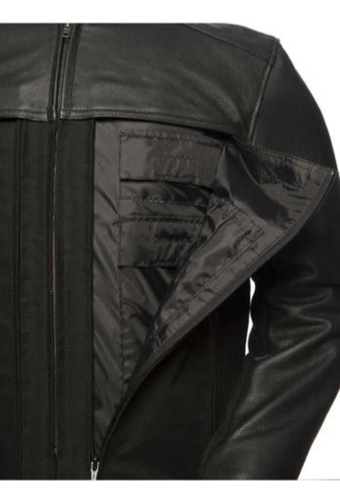 First Manufacturing Mens Motorcycle 2 Tone Textile Leather Light weight biker Jacket 14 pockets New (4XL Regular)