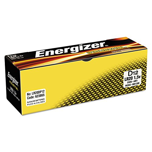 Energizer D Cell Industrial Strength Alkaline Battery, 2500mAh - 12-Pa
