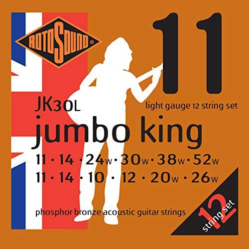 (Rotosound JK30L Jumbo King  Phosphor Bronze Acoustic Guitar Strings 12 String (11 14 10 12 20 26 11 14 24 30 38)