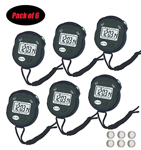 BESTWYA Digital Stopwatch, Large Screen Handheld Count Up Timer with Time Calendar Alarm Houly Chime Function (Pack of 6)