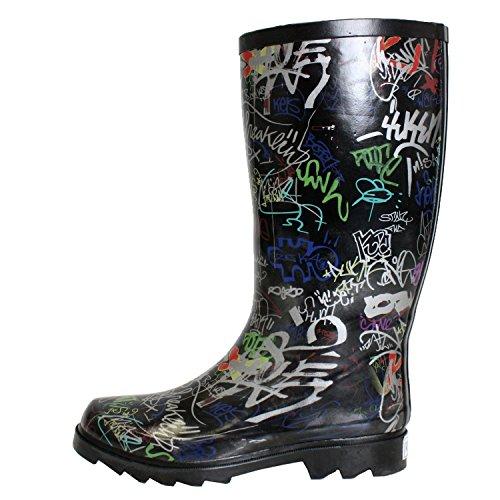 Womens Dev-14 Puddles Rain & Snow Mid Calf Flat Waterproof Boots Shoes Graffiti r5xD9