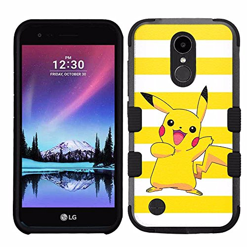for LG K20 Plus, LG V5, Hard+Rubber Dual Layer Hybrid Heavy-Duty Rugged Armor Cover Case - Pokemon Pikachu #Y Photo - Pokemon Gaming