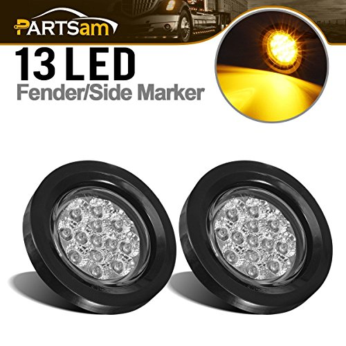 Partsam 2 Pcs Clear Lens Amber LED 2.5 Round Side Marker Kits with Light, Grommet and Wire Pigtail Truck Trailer RV