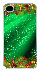 Christmas Sparkles Polycarbonate Hard Case Cover for iPhone 4/4S White by Maris's Diary