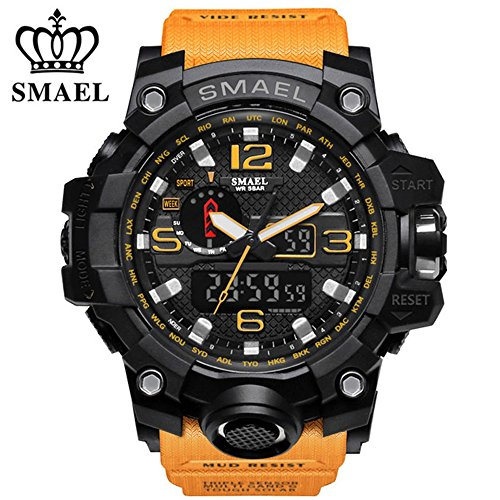 SMAEL Men's Sports Analog Quartz Watch Dual Display Waterproof Digital Watches with LED Backlight relogio masculino (Orange (Orange Rubber Watch)